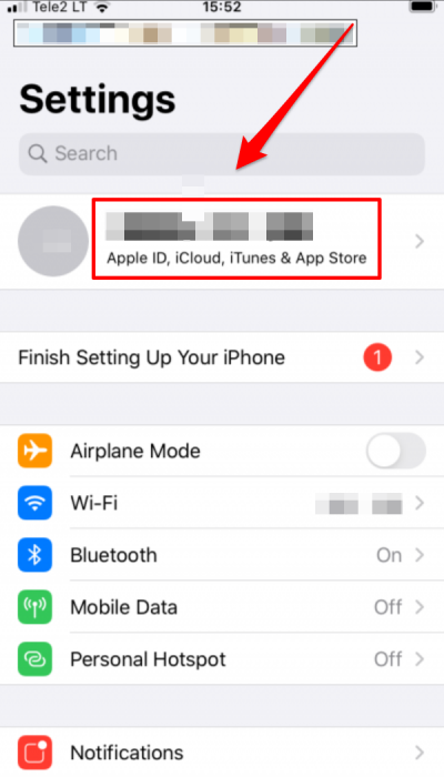 Settings app opened on iPhone 6s